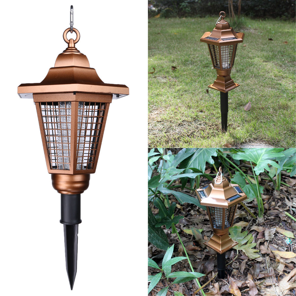 Outdoor Mosquito Killer UV 2 LED Solar Powered Anti Mosquito Fly Catcher Mosquito-killing Insect Trap Lamp Night Lighting