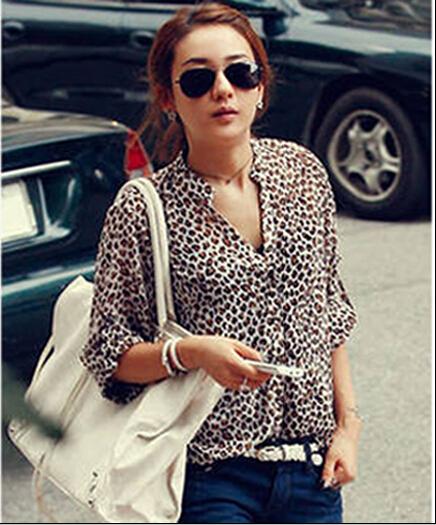 blusas femininas 2015 New Women V neck Leopard print chiffon blouse Sexy lady Long Sleeve blusas Plus Size Blouse Shirt(China (Mainland))