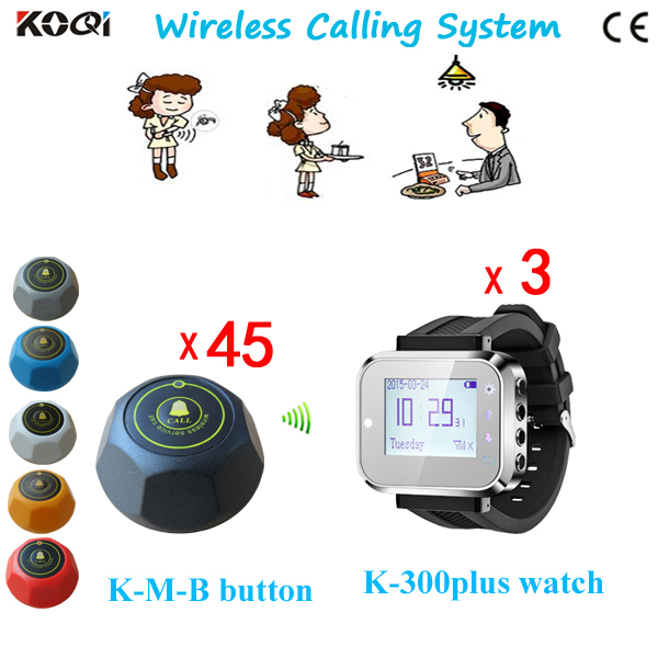 Newest Wireless Customer Service Calling Call System of 3 Watch Receiver and 45 Client Buzzer(China (Mainland))