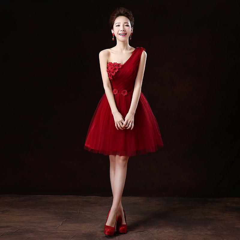 Short dark red bridesmaid dresses wedding dresses in jax for Short red wedding dresses