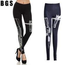 2015 New Fashion WORKOUT Gun Printed Cotton Gym Fitness Leggings Skinny Slim Thin Low Waist Sports Wear Sweat Pants For Women