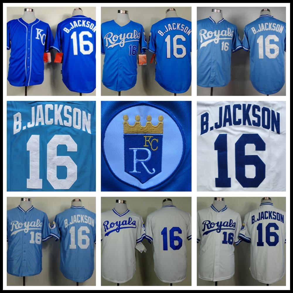 Bo Jackson Jersey Kansas City Royals #16 Reminiscência Baseball Jersey, costurado Azul Branco de Alta Qualidade(China (Mainland))