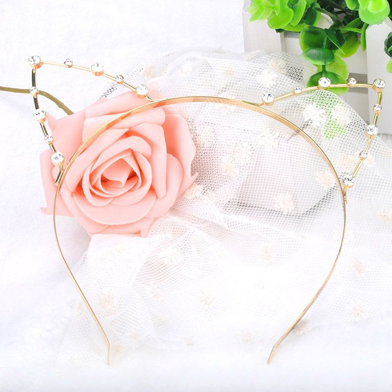 2015 Fashion Party Pearl Crystal Rhinestone Headwear Punk Hair Wrap Cat Ear Headband Silver Gold Color X{YY}MPJ060#M2(China (Mainland))