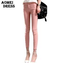 Girl Cute Capris Lolita Bead Pants Pink White Black Blue Solid Color Slim Pocket Plus size Women Clothing XXL 3XL Fitness Pant(China (Mainland))
