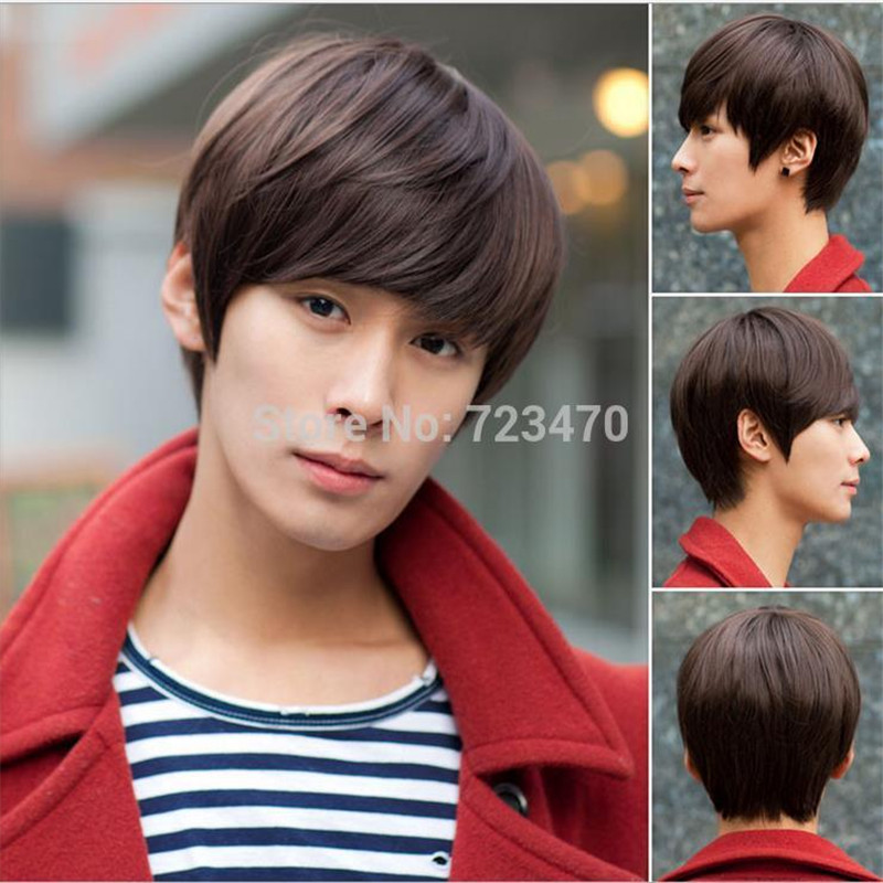 cheap good quality boy korean male wig short wigs straight hair style handsome heat resistant synthetic wigs cosplay man wig(China (Mainland))