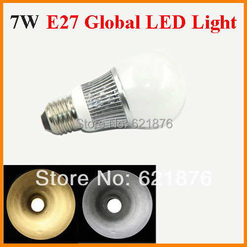 Freeshipping 7W E27 LED Global light SMD 5730 Chips Warm White Cool White ball bulb replace 70W Halogen Fins heat sink 85-265V(China (Mainland))