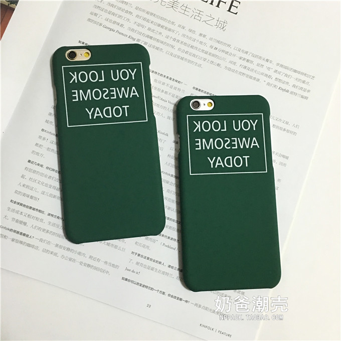 Simple English alphabet written backwards green Phone Case For iPhone 6 6s 6plus matte hard mobile phone sets couple phone shell(China (Mainland))