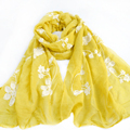 Yellow Silk Scarf Luxury Brand Women Cute Oversize Flower Scarves and Bandana Female Foulard Big Long