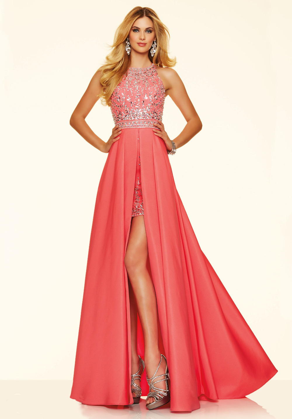 2016 New Listing Jewel Neck Off the Shoulder Peach Mermaid Prom Dresses Opulent Beading Chic Stylish Short Dress with Long Train(China (Mainland))
