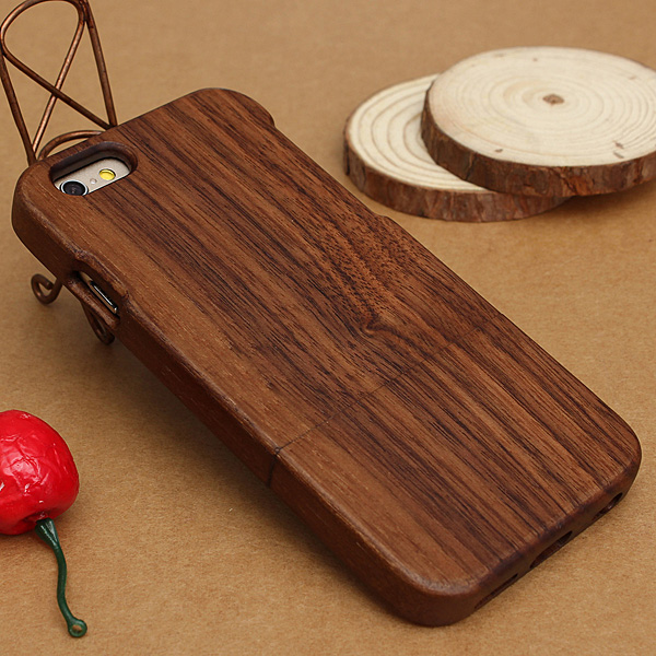 Genuine Real Natural Walnut Sapele Wood Bamboo Wooden Hard Case Cover For Apple For iPhone 6 6s 4.7inch Back Shell Pouch Bag(China (Mainland))