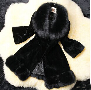 2014 Winter Women's Faux Rabit Fur Coat Collar Hooded Thicken fuax Coats Plus Size S-3XL Overcoat - ShanDong WeiLin International Trade Co.,Ltd store
