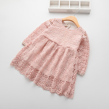 Cute Hollow Girls Lace Dress Pink And White Spring Autumn Baby Girl Dresses Robe Reine Des Neiges Enfant Children Clothing 8210