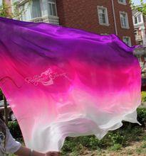 2015 design 100% real silk belly dance veil, cheap dance veils,tari perut kostum veil wholesale 270*114cm Purple+Rose Red+White