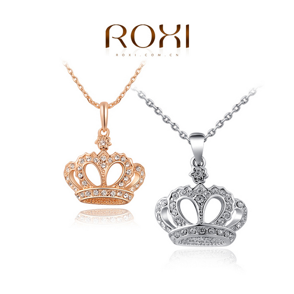 ROXI Gift Classic Crown Pendant Necklace Rose Gold/Platinum Plated 100%hand Made Fashion Women Jewelry Crystal 2015(China (Mainland))