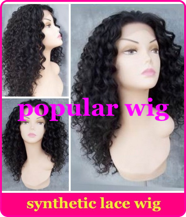 Fashion long curly synthetic wigs natural black color heat resistant synthetic lace front wig for black women(China (Mainland))