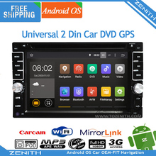 Free shipping dual Core Android 4.4 Universal Interchangeable Car Audio GPS Navigation 2din Stereo Steering wheel control mp3