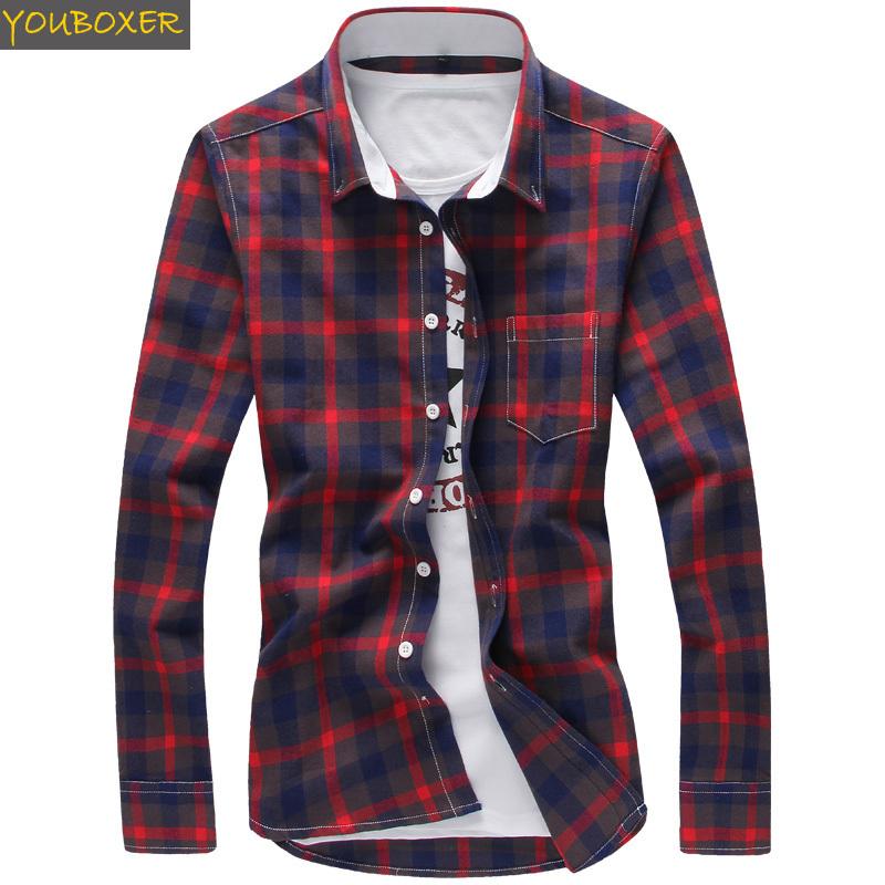 Buy men 39 s cotton plaid shirt 2015 new for Mens casual plaid shirts