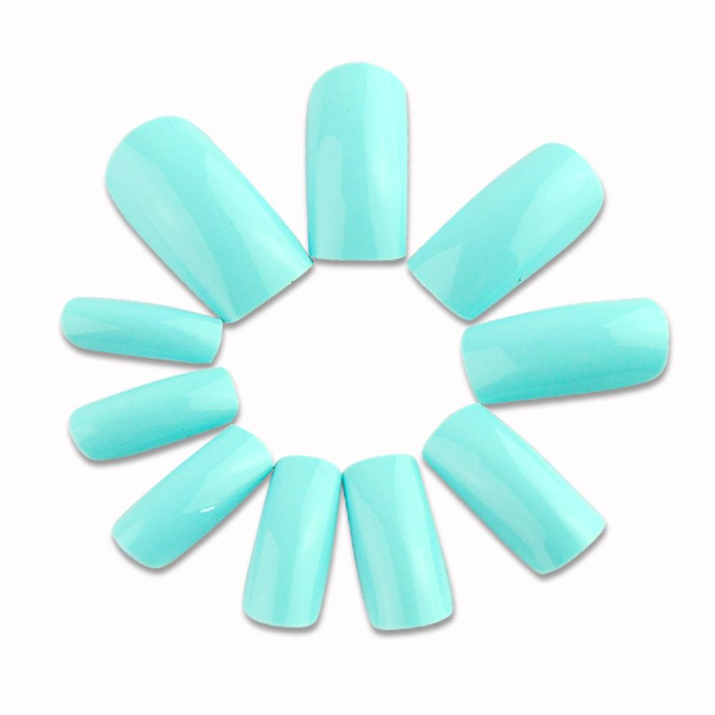 500pcs/lot fashion solid color false full nails art tips 10 size sky blue Nail tools EG5396(China (Mainland))