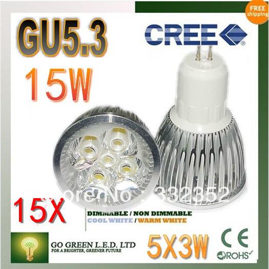 Free shipping 15XHigh-power CREE led bulb GU5.3 12W 15W AC85-265V Dimmable Warm/Pure/Cool white led Spotlight led lamp led