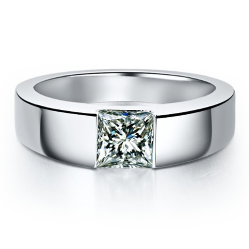 18K Gold Man Ring Princess Cut Engagement 1Ct SONA Synthetic Diamond Wedding Ring for Male Pure 18K White Gold Men Jewelry Ring(China (Mainland))