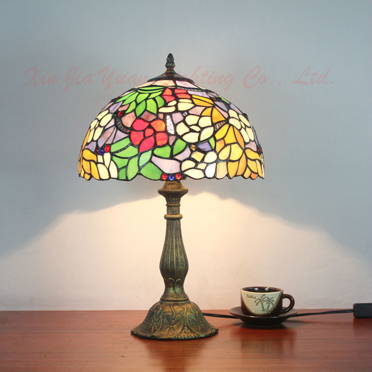 Tiffany Style Stained Glass Table Lamp Lustre Retro Art Bedroom Bedside Antique Office Desk Light Fixtures - Broadway Lighting store
