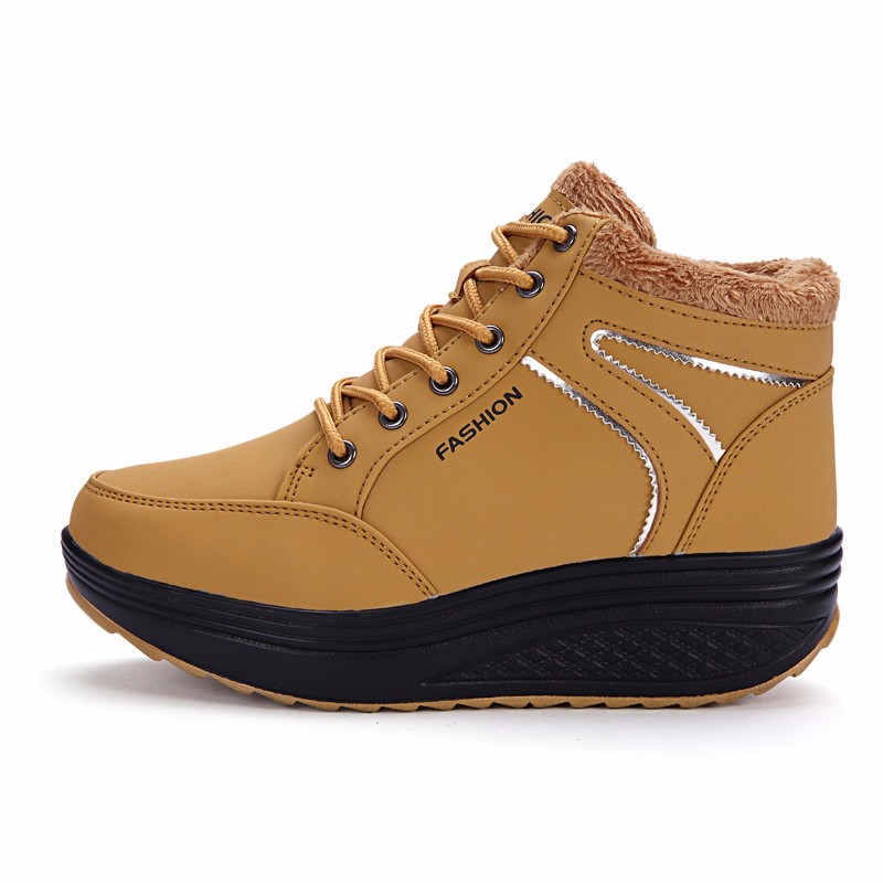 Fooraabo 2017 Winter Warm Boots Women's Waterproof Leather Shoes Female Lady Snow Boots Ankle Women Height Increasing Shoes