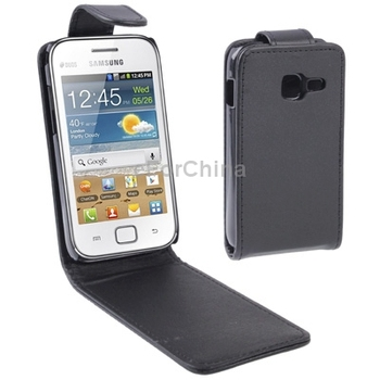 HOT High quality vertical flip black leather phone case for Samsung galaxy ace duos s6802
