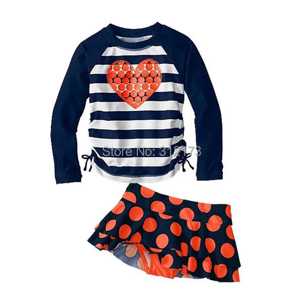 Vivo-biniya Kid Girls Swimwear Children Two-Piece Swimsuit Stripe Long Sleeves +Shorts+Hat Bathing Suit - lianliannishang store