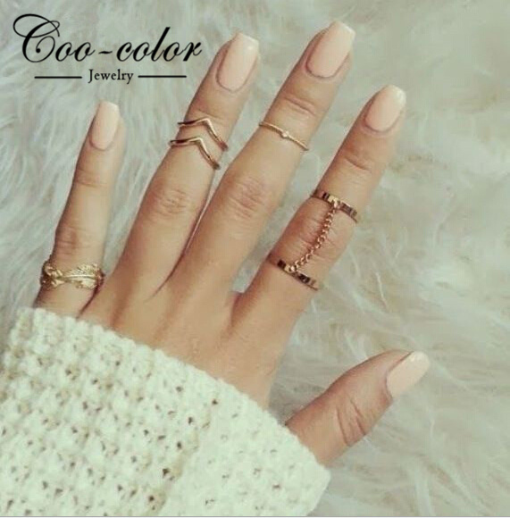 Fashion Jewelry Gold Plated Stacking Midi Rings Charm Leaf Rhinestone Midi Set Ring Jewelry For Women(China (Mainland))