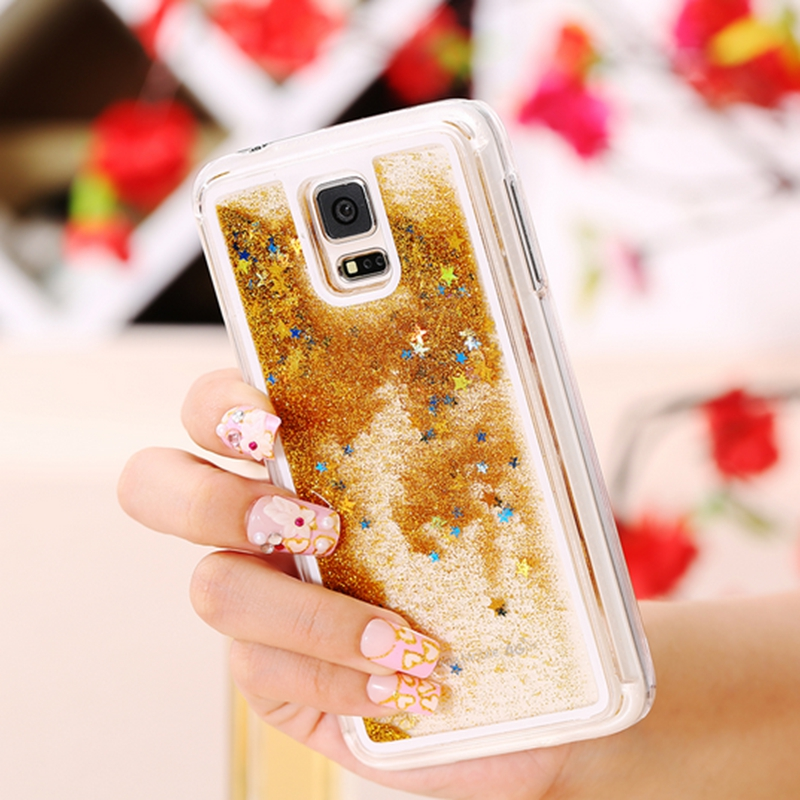 S6 S5 Cute Liquid Glitter Sand Star Case Fundas For Samsung Galaxy S5 i9600 Crystal Clear Cellphone Back Cover Coque Quicksand(China (Mainland))