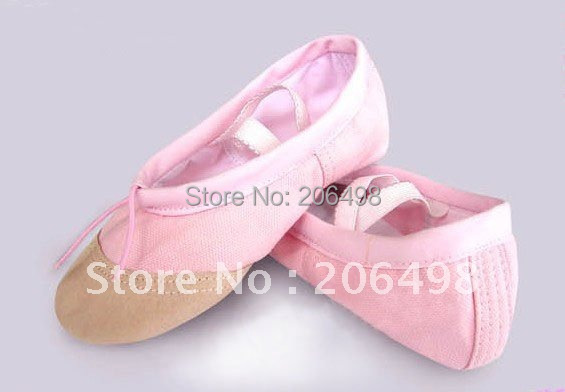 Multiple color pink / Ivory yellow Red canvas flat girl ballet shoes, kid leather shoes head performances - jackie Children's stores store