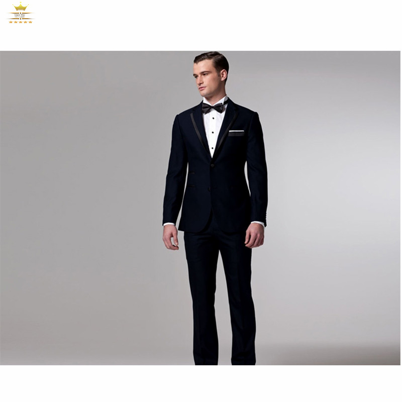 Здесь можно купить  Dark Blue Mens Tuxedos Custom Made Grooms Men Suits With Pants Slim Fit  Notch Lapel Two Buttons   Jacket + Pants+Tie   LY0830  Одежда и аксессуары