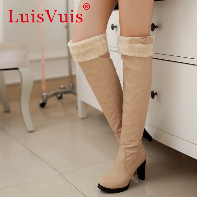 women high heel over knee boots cotton fashion snow warm winter botas brand boot sweet footwear heels shoes P20519 size 34-43