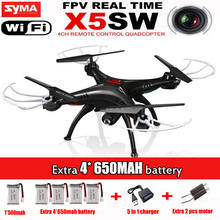New Listing Syma x5sw (Black and White) 2.4G 4CH 6-Axis 2MP Professional aerial RC Helicopter Quadcopter Toys Drone With Camera
