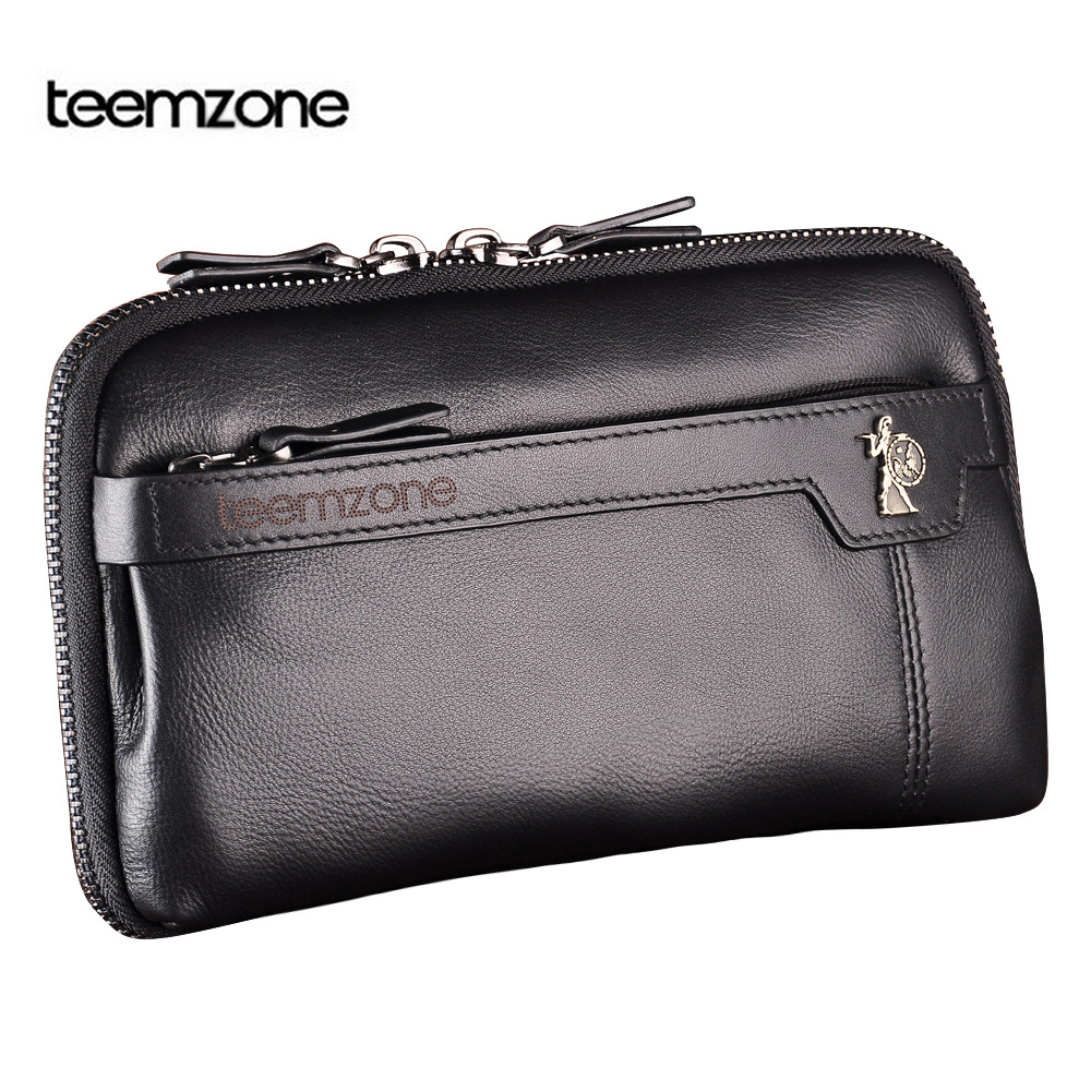 Men's Genuine Leather Business Day Clutch Wrist Bag Handbag Cash Card Case Checkbook Organizer Come in 3 Colors(China (Mainland))