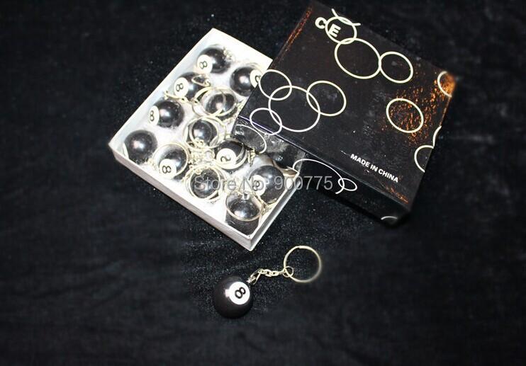 8 pcs Mini Key ring pool ball/black 8 /Decoration Pool game/ CUE ball/2.5cm ball Cute key chain(China (Mainland))