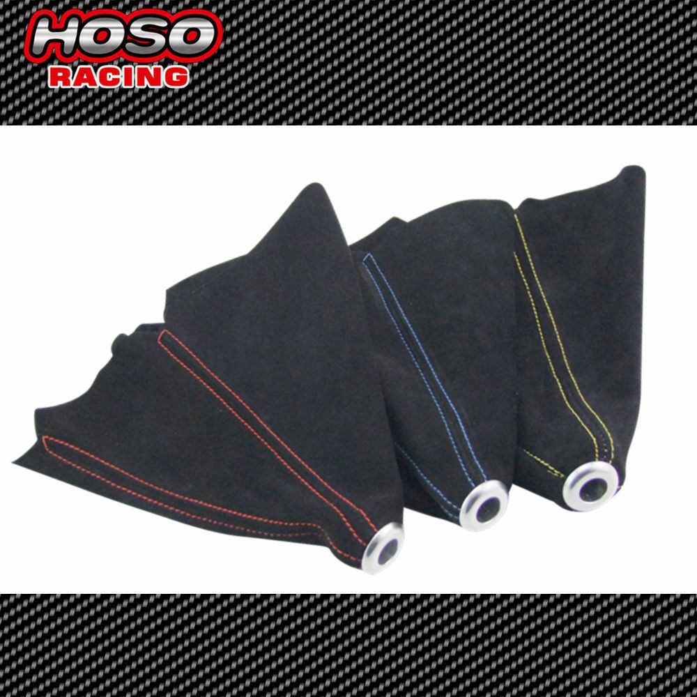 Universal JDM Black Suede Shift Boot For M/T Manual Shift Gear Cover Shifter Stitch Red Blue Yellow(China (Mainland))