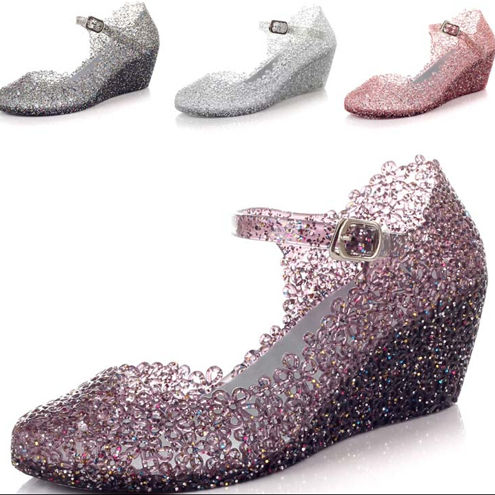 2015 Summer breathable crystal bling plastic jelly shoes cut out wedge heel bird nest mesh bird nest female wedge sandals NEW(China (Mainland))