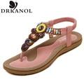 New 2016 flat sandals elegant Bohemia shoes summer fashion leisure beaded free shipping beach flip flops