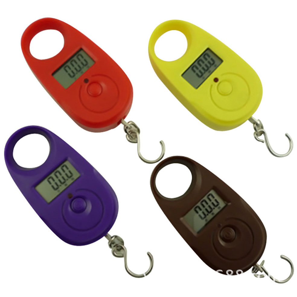 25kg x 5g Mini Electronic Digital Hanging Luggage Scale pocket Portable LCD Weight Weighing Scale Yellow/Purple(China (Mainland))
