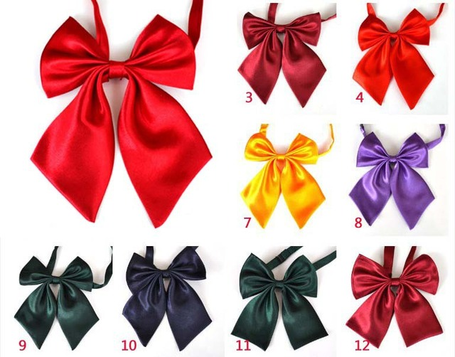 New Arrivals Girls Pre-Tied Adjustable Bow Ties Women Bowties Solid Color Tie Women Neck Wear Free Shipping 200 pcs