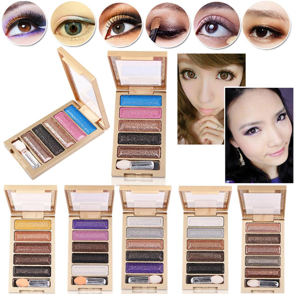 High quality 2015 new 5 Color Glitter Eyeshadow Makeup Eye Shadow Palette,Super Flash Diamond Eyeshadow High Quality With Brush(China (Mainland))