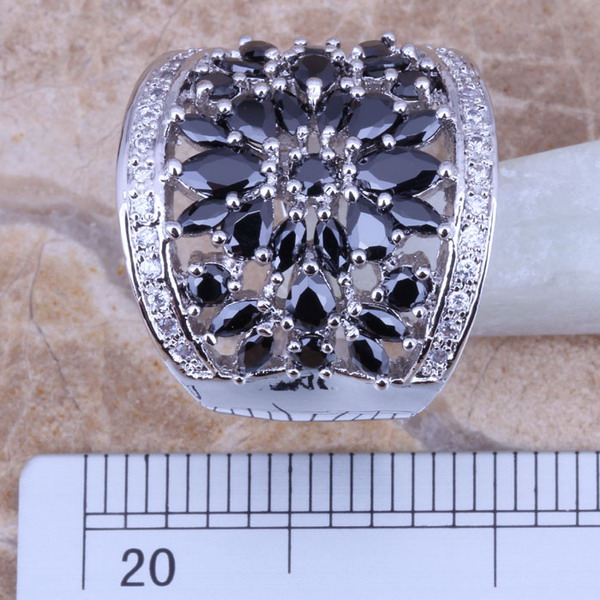 Black Sapphire White Topaz 925 Sterling Silver Overlay Ring For Women Size 5 / 6 / 7 / 8 / 9 / 10 / 11 / 12 Gift Bag S0179(China (Mainland))