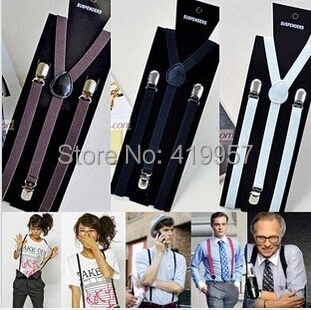 10 2014 New Fashion 1.5cm width 3 clips Men's suspenders adjustable elasticity women's braces --BD002 - Sister7983(Min Order $5 store)