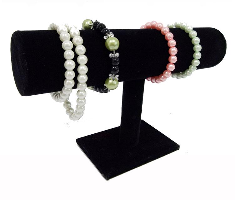 Portable Organizer Black Velvet Bracelet Bangle Necklace Chain Watch T-Bar Rack Jewelry Display Stand Holder Rack Free Shipping(China (Mainland))
