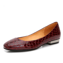 Plus Size Spring Alligator Women Flats Round Toe Embossed Leather Shoes Slip On Sequined Red Bottom Shoes For Women