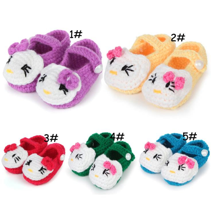 New 2014 Hot Acrylic+Wool handmade baby girls shoes cat shape inside 11cm baby's first walkers free shipping(China (Mainland))