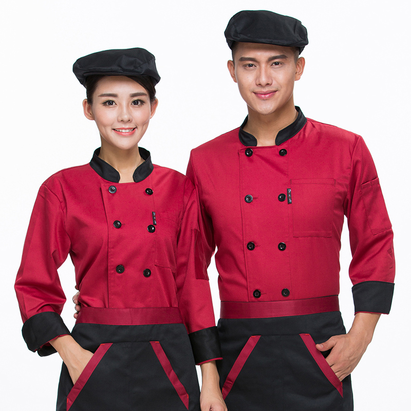 2016 autumn uniformes chef costumes stylish coffee bakery uniform coats for womens hotel catering red waiters apparel shirts(China (Mainland))