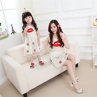 2014 family looke summer sets clothes for mother and daughter princess dress family set clothing for baby girls Lips Eugen dress