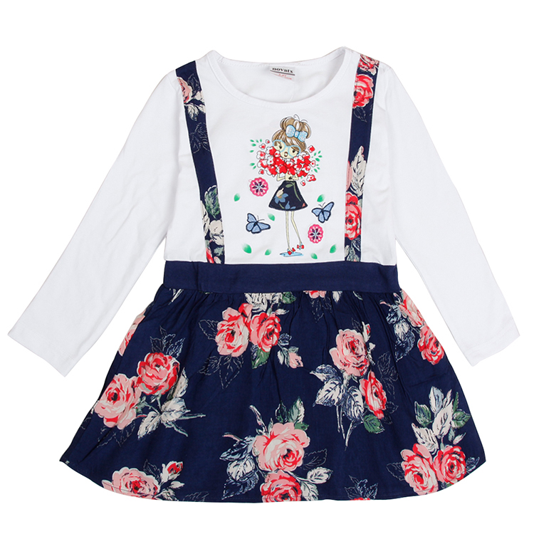 2015 new baby girl's dress design cartoon character embroidered cotton short sleeve summer girls nova kids wear